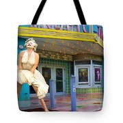 Marilyn Monroe In Front Of Tropic Theatre In Key West Tote Bag