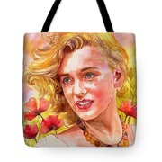 Marilyn Monroe With Poppies Tote Bag