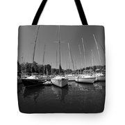 Marina On Lake Murray S C Black And White Tote Bag