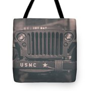 Marine Corps Jeep In Black And White Tote Bag
