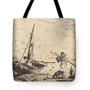 Marine: Fishing Boats On Shore, Man With Oars, Ship In Distance Tote Bag