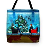 Marinelife Observing Couple Sitting In Chairs Tote Bag