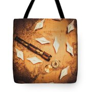 Maritime Origami Ships On Antique Map Tote Bag
