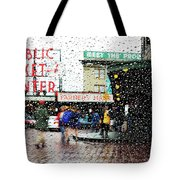 Market In Rain J005 Tote Bag