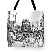Market Place - Urban Life Outside Temple India Tote Bag