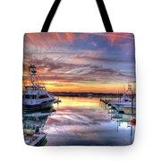 Marlin Quay Marina At Sunset Tote Bag