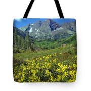 210403-v-maroon Bells And Sunflowers  Tote Bag