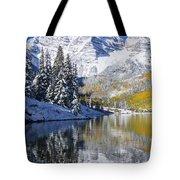 Maroon Lake And Bells 2 Tote Bag