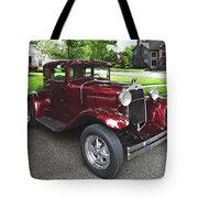 Maroon Vintage Car Tote Bag
