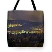 Marquam Hill And Portland Bridges At Night Tote Bag