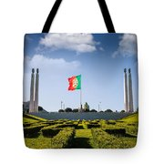 Marques De Pombal Gardens In Lisbon Tote Bag