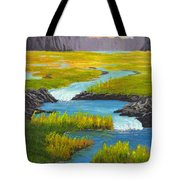 Marsh River Original Painting Tote Bag