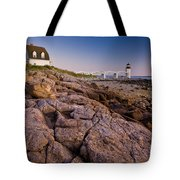 Marshal Point Light Sunset Tote Bag by Susan Cole Kelly