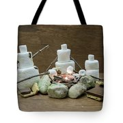 Marshmallow Family Making S'mores Over Campfire Tote Bag