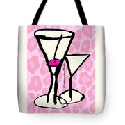 Martini With Pink Leopard Background Tote Bag