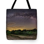 Marveling At The Creation Of God - Milky Way Panorama At Enchanted Rock - Texas Hill Country Tote Bag