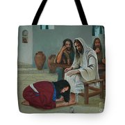 Mary Anoints The Feet Of Jesus Tote Bag