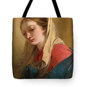 Mary Magdalene In Three-quarter View Veiled In A White Cloth Tote Bag