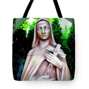 Mary With Cross Tote Bag