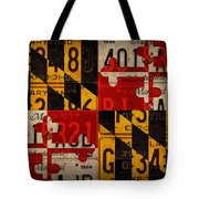 Maryland State Flag Recycled Vintage License Plate Art Tote Bag