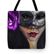 Mask And Flower Tote Bag