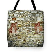 masonry Locked windows on the stone wall Tote Bag
