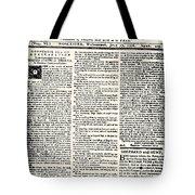 Massachusetts Spy, 1776 Tote Bag