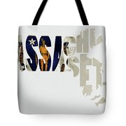 Massachusetts Typography Map Flag Tote Bag