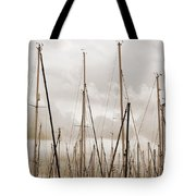 Masts In Sepia Tote Bag