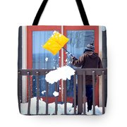 Mature Female Shoveling. Tote Bag