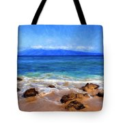 Maui Beach And View Of Lanai Tote Bag