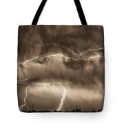 May Showers - Lightning Thunderstorm Sepia Hdr Tote Bag