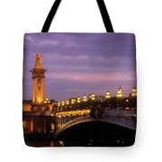 Bridge Of Alexandre IIi At Night Tote Bag