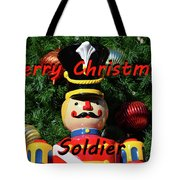 Custom Soldier Christmas Card Tote Bag