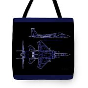 Mcdonnell Douglas F-15 Eagle Black Diagram Indigo Lines Tote Bag