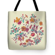 Meadow Flower And Leaf Wreath Isolated On Beige, Circle Doodle F Tote Bag