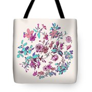 Meadow Flower And Leaf Wreath Isolated On Pink, Circle Doodle Fl Tote Bag