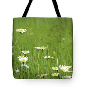 Meadow With White Wild Flowers Spring Scene Tote Bag