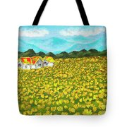 Meadow With Yellow Dandelions, Oil Painting Tote Bag