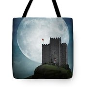 Medieval Castle At Night By Moonlight Tote Bag