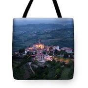 Medieval Hilltop Village Of Smartno Brda Slovenia At Dawn In The Tote Bag
