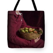 Medieval Woman Holding A Basket Of Apples Tote Bag