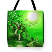 Meditating While Cherry Blossoms Fall In Green Tote Bag