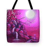 Meditating While Cherry Blossoms Fall Tote Bag