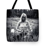 Meditation Meadow Bw Background Tote Bag