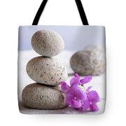 Meditation Stones Pink Flowers On White Sand Tote Bag