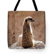 Meerkat Standing On Rock And Watching Tote Bag