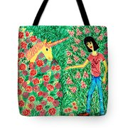 Meeting In The Rose Garden Tote Bag