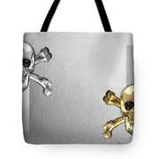Memento Mori - Gold And Silver Human Skulls And Bones On White Canvas Tote Bag