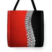 Memento Mori - Silver Human Backbone Over Red And Black Canvas Tote Bag
